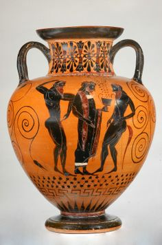 Vase attique à figures noires, attribué au peintre de la balançoire, ~540-530 av. JC, fondation Goulandris, musée d'art cycladique, Athènes