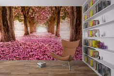 Pink flower trees wall mural, repositionable and removable wall paper, wall covering