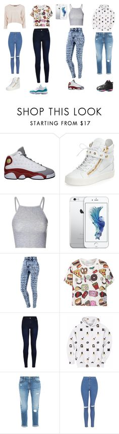 """Untitled #18"" by x0-cuttie ❤ liked on Polyvore featuring Retrò, Giuseppe Zanotti, Glamorous, Urban Bliss, Aloha From Deer, Frame Denim and Topshop"