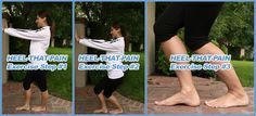 Heel stretch exercise for plantar fasciitis - this exercise helps lengthen the plantar fascia and reduce pain in the heels, arches, and bottom of the feet.
