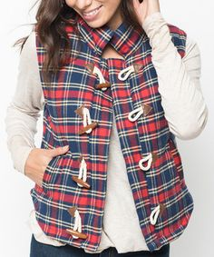Loving this Red & Navy Plaid Toggle Vest on #zulily! #zulilyfinds