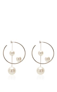 Ivory Pearl Hoop Earring by Salvatore Ferragamo for Preorder on Moda Operandi
