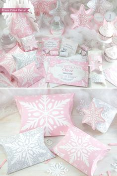 Winter ONEderland Party Decorations Printable Pack Pink and silver.   Is your little one turning ONE in the winter months? Celebrate with a   winter ONEderland party everyone will remember.   The soft pinks and silvers will transform your house into a magical   snowy wonderland!  Christmas Decor, Christmas party, Onederland Party, Pink snowflakes,   printable, wonderland, 1st birthday, first, baby shower,  #Onederland   #OnederlandParty #1stbirthday