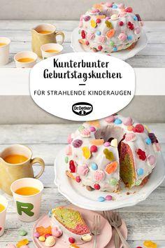 Kunterbunter Geburtstagskuchen: Ein bunter Geburtstags-Gugelhupf für die Kinderparty #kindergeburtstag #fuerdiekleinen #party