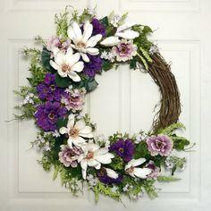 Magnolia Spring Door Wreath Front Door Wreath Door by Floralwoods