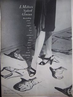 "I. Miller ""Naked Genius"" Shoes, 1945. #vintage #shoes #fashion #1940s #ads"