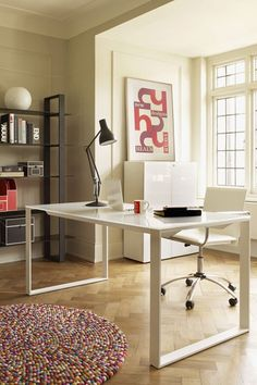 Bright and White- Office Furniture & Designs- Decorating #whiteofficefurniture
