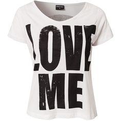 Sally&Circle Love Me Tee ($11) ❤ liked on Polyvore featuring tops, t-shirts, shirts, blusas, svart, round neck t shirt, black shirt, shirts & tops, black top and black t shirt