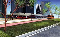 As estações de transporte da Linha Verde serão interligadas aos binários e aos pontos de travessia segura para pedestre. Ilustração: IPPUC