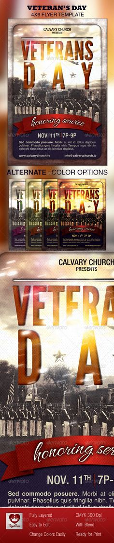 Veterans Day Church Flyer — Photoshop PSD #church #national • Available here → https://graphicriver.net/item/veterans-day-church-flyer/3298325?ref=pxcr