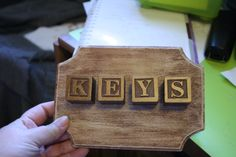 my key rack part way done. I added a cup hook under each block and hung it on the wall.