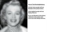 Normal Vision people will see Einstein in the picture below / Short-sighted people will see Marilyn Monroe
