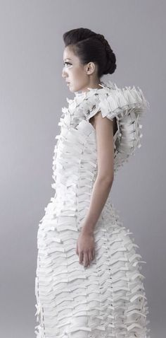 Fashion as Art - white textured dress with sculptural shape; experimental fashion design // Jenny Hsu