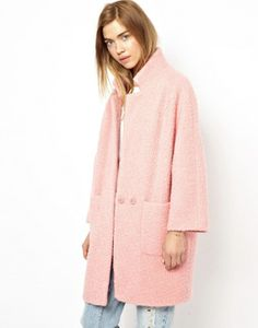 Manteau en laine rose Ganni