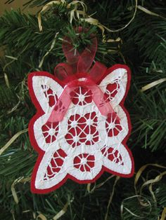 Battenburg Lace and Felt Ornament Red White by SnowNoseCrafts, $4.00