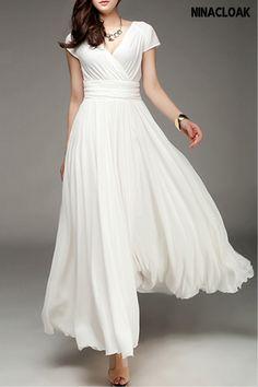 Vestidos Color Blanco, Floryday Vestidos, Elegant Maxi Dress, Style Casual, Chiffon Skirt, White Chiffon, White Maxi, Dress Silhouette, Casual Wedding