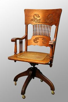Antique Victorian Oak Press Back Lawyers/Bankers Swivel Office Chair, I  Remember My