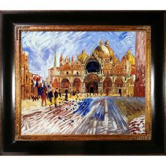 La Pastiche Pierre-Auguste Renoir 'The Piazza San Marco Venice 1881' Hand Painted Framed Art