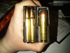 Check out these MONSTER .50 cal Beowulf rounds compared to the 5.56! Holy crap! What a difference!