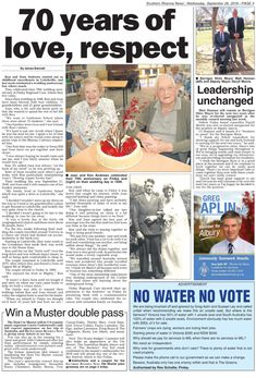 Finley Residents celebrate 70th Wedding Anniversary - Finley Regional Care Longest Marriage, Aged Care, Regional, Wedding Anniversary, How To Find Out, Childhood, Reading, Celebrities, Marriage Anniversary