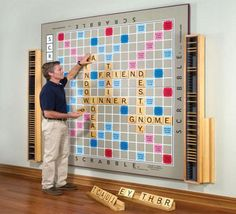 $12,000 wall Scrabble hand-made by John Kahn for Hammacher Schlemmer  Oh husband, please make this for me :)