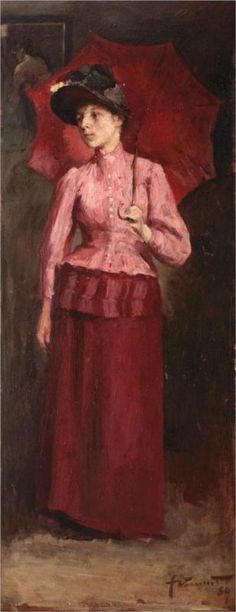 Woman with Red Umbrella - Nicolae Vermont, 1889 Contemporary History, Contemporary Artists, Modern Art, Gustave Courbet, Red Umbrella, Post Impressionism, Art Database, Vermont, Great Artists