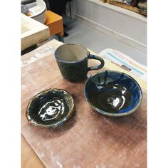 A mug, a little trinket plate and my first wheel thrown bowl, all fresh out the kiln!