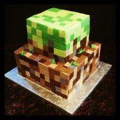 Minecraft Cake - Minecraft!  If you havent heard of Minecraft, ask a 9 year old!  Ha ha!