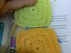 Et si on assemblait nos carrés. - Crochet and the city! Couture, Winter Hats, Crochet Hats, Plaid, City, Crochet Squares, Easy Knit Blanket, Tuto Tricot, Stuff Stuff