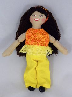 Toy Brown Haired Doll  Doll Clothes  Handmade Doll  Girl
