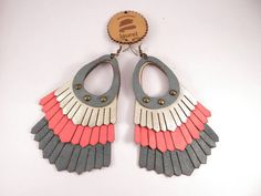 Tero leather earrings from Laurel turquoise gold and by uyLaurel, $37.00
