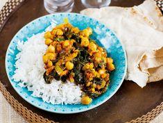 Indiska kikärter med spenat Indian Dishes, Baby Food Recipes, Food Baby, Paleo, Lunch, Veggies, Rice, Vegetarian, Vegan