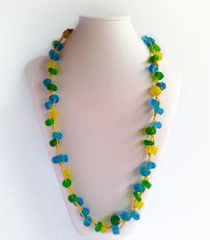 Kirana Yellow Crystal Bead | Indigo Heart - Fair Trade Fashion A$29.95 Crystal Beads, Crystals, Fair Trade Fashion, Blue Green, Yellow, Bali, Indigo, Artisan, Beaded Necklace
