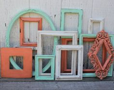 coral and mint baby nursery | ... Coral and Mint - Aqua and Coral Decor - Picture Frames - Nursery