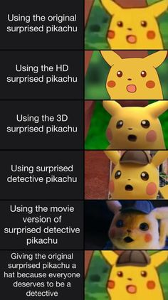 Pikachu is one of the most popular in Pokemon. There are a lot of meme and pics of Pikachu. Here is the top 15 Pikachu meme that people liked most. Pikachu Pikachu, Pikachu Memes, Pokemon Funny, Deadpool Pikachu, Dead Deadpool, Funny Shit, Funny Cute, Funny Posts, Funny Stuff