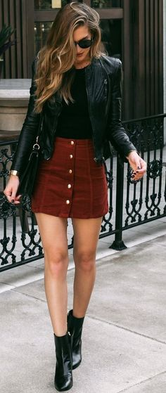 #winter #fashion //  Black Leather Jacket // Black Top // Burgundy Skirt // Leather Ankle Boots