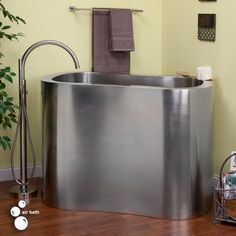 """49"""" Silhouette Stainless Steel Japanese Soaking Air Tub - Brushed - Bathtubs - Bathroom...need a ladder to climb in this tub"""
