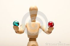 Image of a manakin against a plain background, holding his hands up and offering a choice between 2 items.