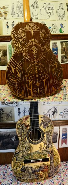 Lord Of The Rings guitar. (And OMIGOSH there's a bunch of disney sketches in the background!)