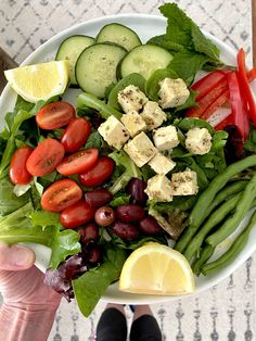 """Mediterranean Salad with Marinated """"Feta- style"""" Tofu - For A Digestive Peace of Mind—Kate Scarlata RDN"""