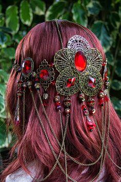 Beautiful handmade Ruby red Blood Orchid Goddess Circlet via Etsy