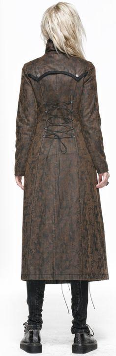Long manteau marron avec laçage Steampunk Punk Rave Y-548