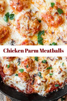 Chicken Parm Meatballs use seasoned ground chicken to make moist chicken meatballs. All the flavors of Chicken Parm in a meatball! Easy and cheesy! Ground Chicken Meatballs, Chicken Parmesan Meatballs, Chicken Meatball Recipes, Healthy Chicken Recipes, Cooking Recipes, Cooking Gadgets, Lunch Recipes, Ground Meat Recipes, Recipes With Ground Chicken