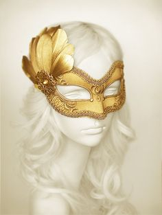 Gold Embroidery Masquerade Mask With Gold Feathers - Venetian Style Halloween Mask - For Masquerade Ball, Prom, Costume Party, Wedding