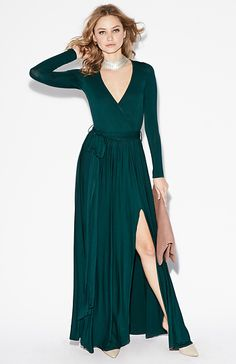 Vivian Jersey Knit Wrap Maxi Dress in Emerald XS - XL | DAILYLOOK