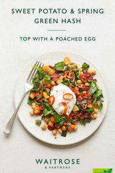For a healthy vegetarian brunch, try swapping bread for our sweet potato, chickpea and spring green hash, then top with a poahced egg. This is a great breakfast alternative if you're gluten-free too! Tap for the full Waitrose & Partners recipe. Veggie Recipes, Salad Recipes, Vegetarian Recipes, Cooking Recipes, Healthy Recipes, Diet Recipes, Brunch Recipes, Breakfast Recipes, Brunch Ideas