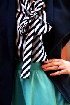Navy, turquoise and stripes.