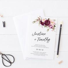 Stunning Floral Wedding Invitation, Watercolours, Rustic. Peach Perfect Australia. #wedding #invitation #floral #rusticinvitations #paperporn #peachperfect
