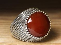 925 K Sterling Silver Man Ring Red Agate 10 US Size $21.26