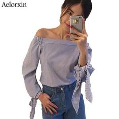 Women Blouse Elegant Bow Blue Off Shoulder Female Blouse Shirt Sexy Summer 2017 Girls White blouse Women Tops Striped Blusas 3XL